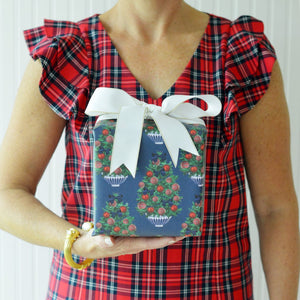 Tartan Christmas Tree Wrapping Paper - The Preppy Bunny