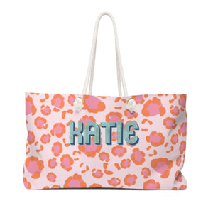 Leopard Spots Pink Monogram Travel Tote - The Preppy Bunny