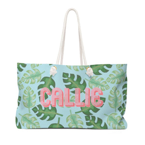 Tropical Blue Monogram Travel Tote - The Preppy Bunny