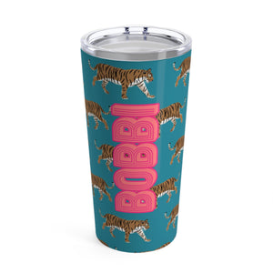 Large Tiger Blue Tumbler - The Preppy Bunny