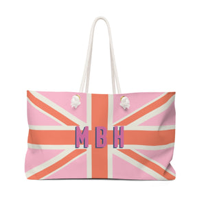 Union Jack Pink Monogram Travel Tote - The Preppy Bunny