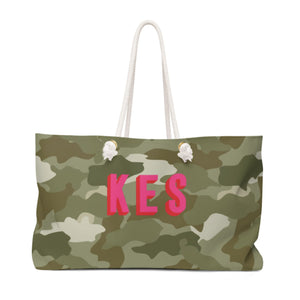 Green Camo Monogram Travel Tote - The Preppy Bunny