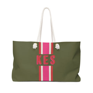 Stripe Army Green & Pink Monogram Travel Tote - The Preppy Bunny