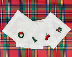 Christmas Novelty Embroidered Linen Cocktail Napkin Set - The Preppy Bunny