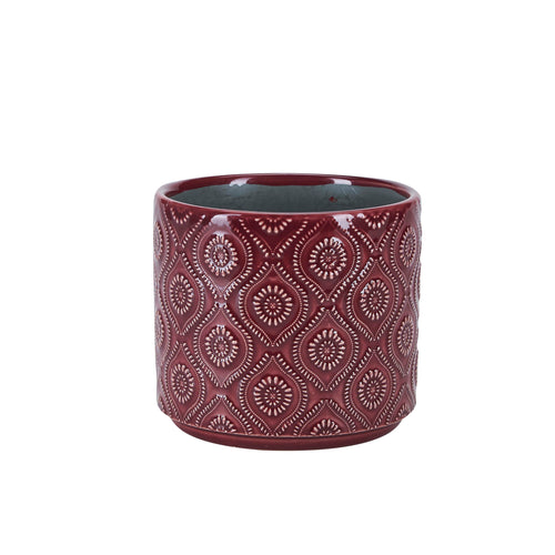 Bahne Stoneware Flower Pot  Red