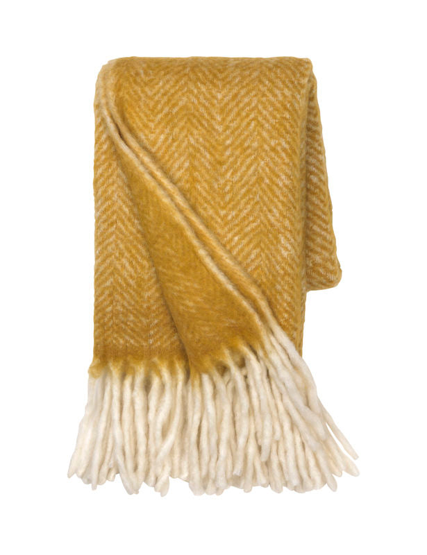 Cozy Living Mathea Melange Wool Throw CURRY