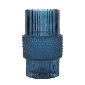 Bahne Ribbed Glass Vase Blue