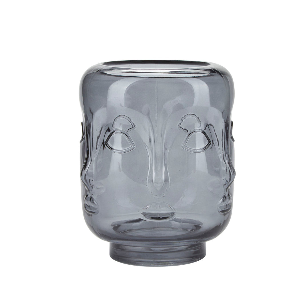 Bahne Face Glass Vase Grey