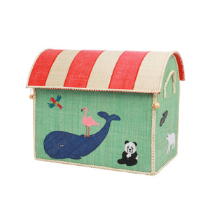 Rice Raffia Storage Chest Zoo Animals