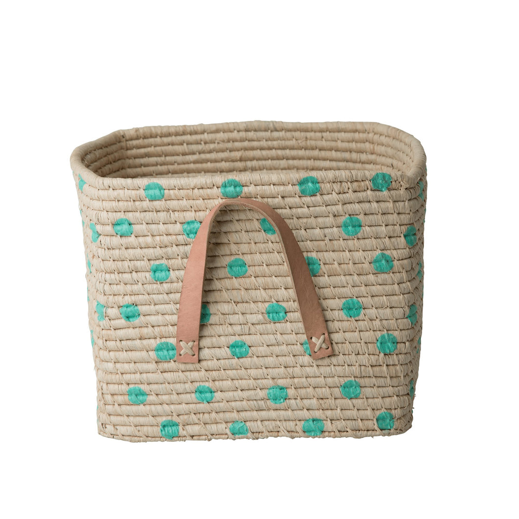 Rice Square Raffia Basket Green Polka Dots