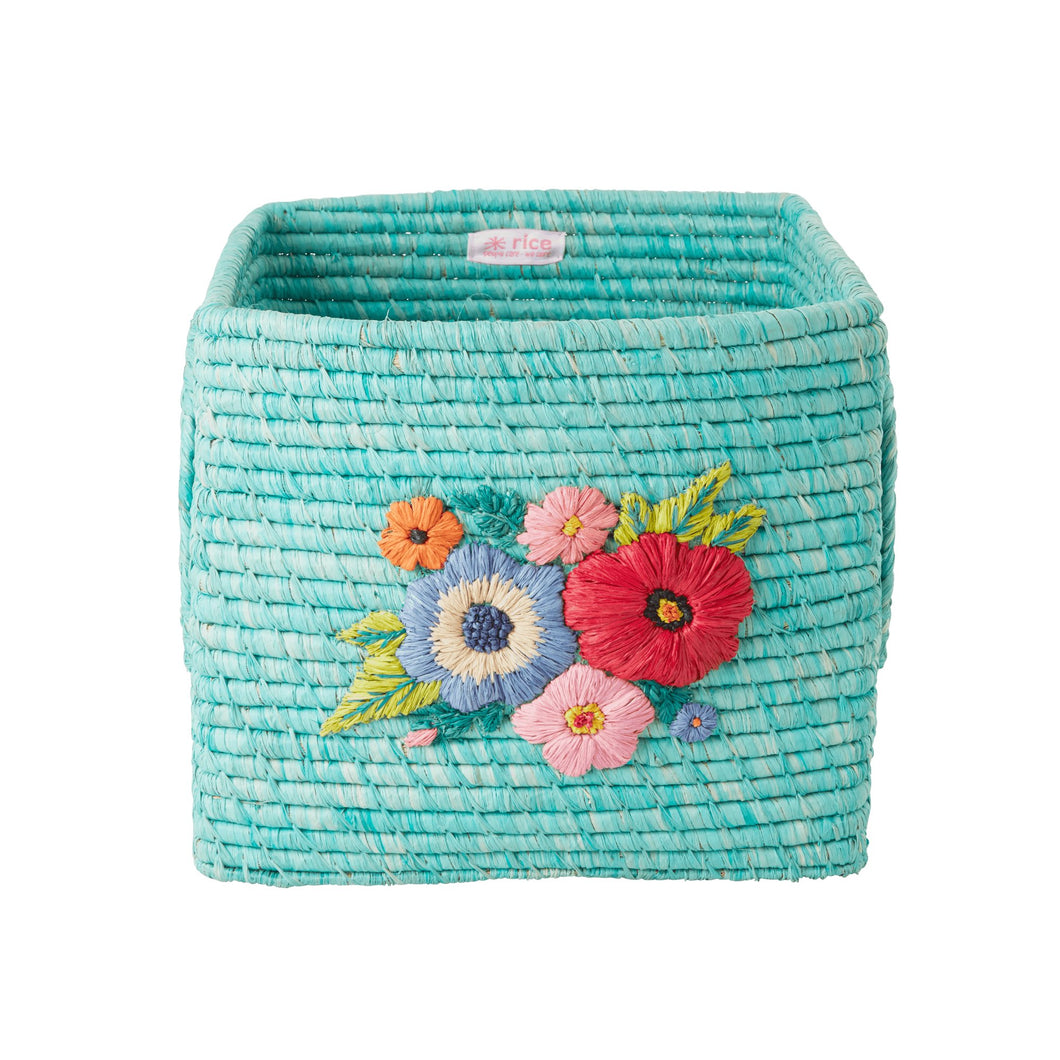 Rice Square Raffia Basket  Mint
