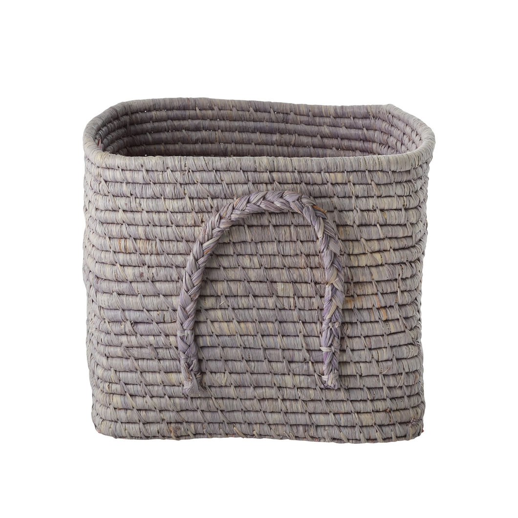 Rice Raffia Square Basket  Soft Lavender
