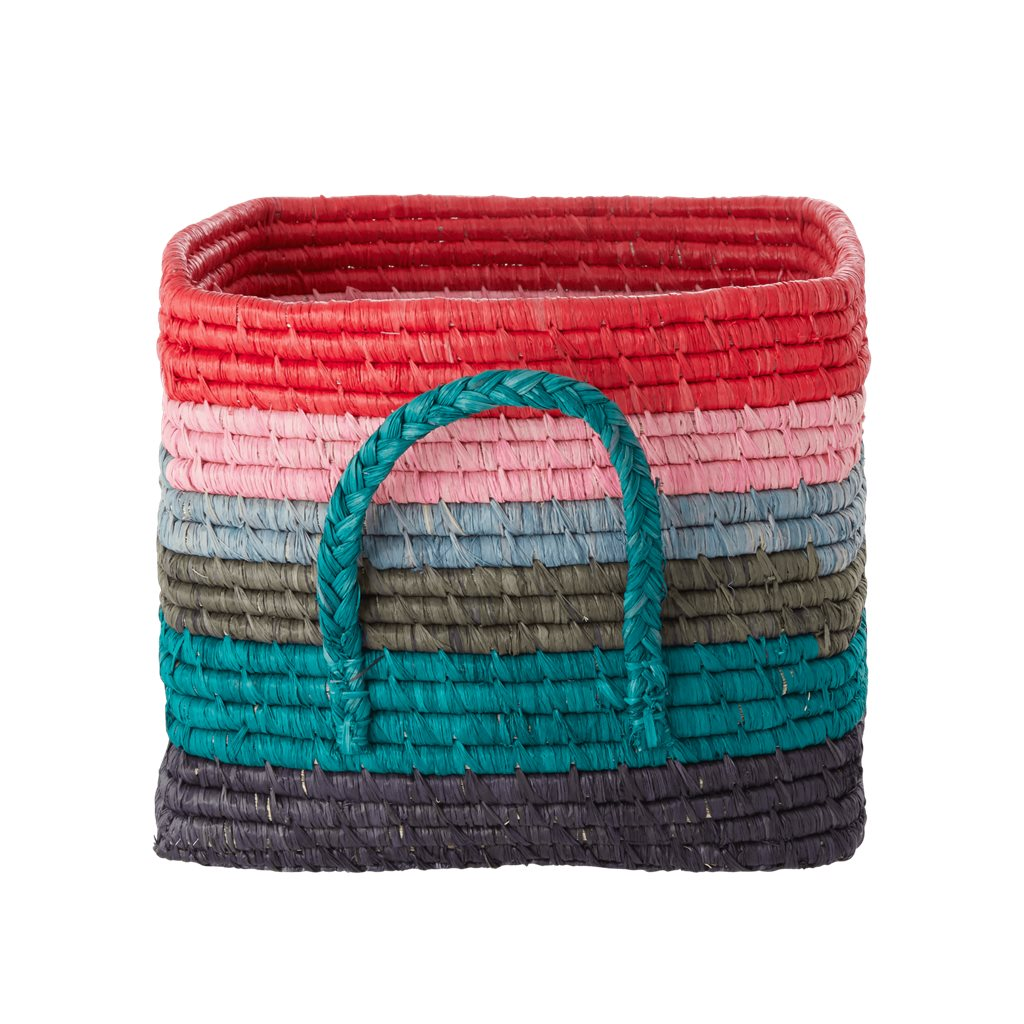 Rice Square Raffia Basket Multi
