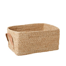 Rice Raffia Rectangle Storage Basket Natural