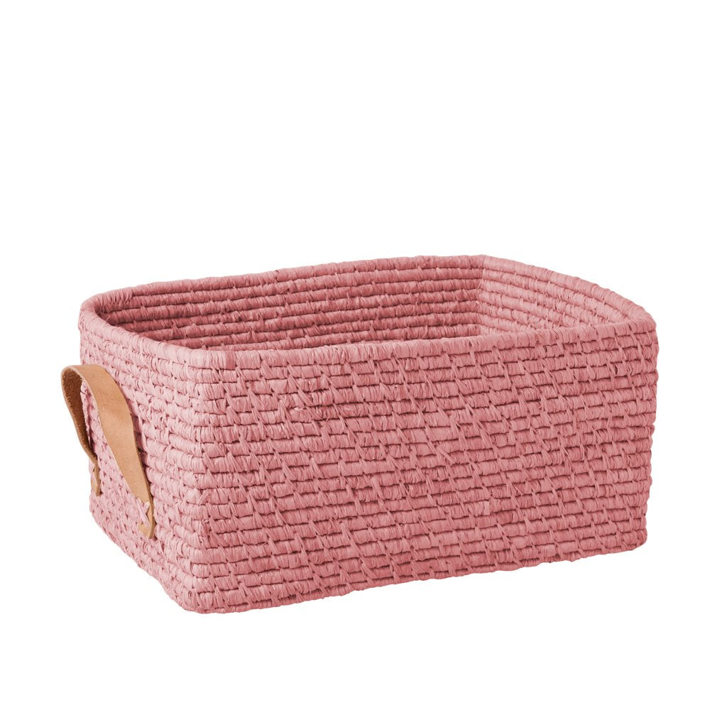 Rice Raffia rectangle Storage Basket Soft Pink