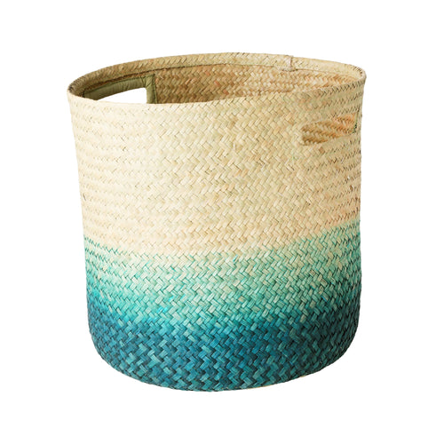 Rice Seagrass Storage Basket Green  Small