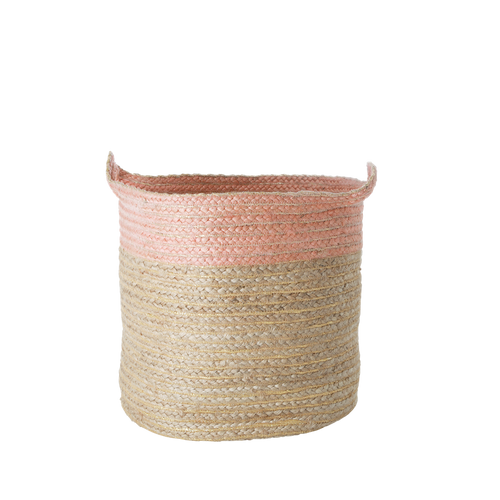Rice Jute Storage Basket Pink Large