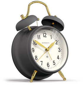 Newgate Brick Lane Alarm Clock  Moonstone Grey & Brass