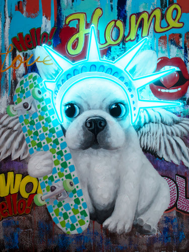 Locomocean Wall Artwork With Neon Lighting Liberty Dog