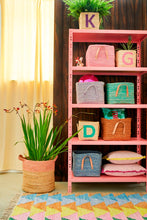 Rice Square Raffia Basket  Pink