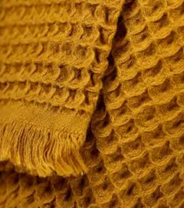 House Doctor Waffle Cotton Throw Mustard