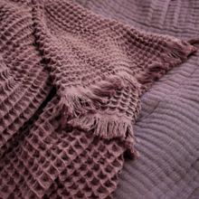 House Doctor Waffle Cotton Throw Aubergine
