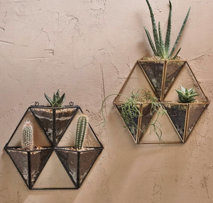 Nkuku Glass Wall Planter Antique Brass Triple