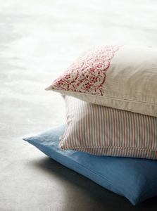 Tine K Striped Cotton  Cushion  Red/ Blue