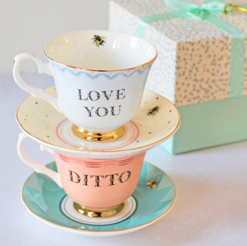 Yvonne Ellen Cup & Saucer, Love You/ Ditto Set Of 2