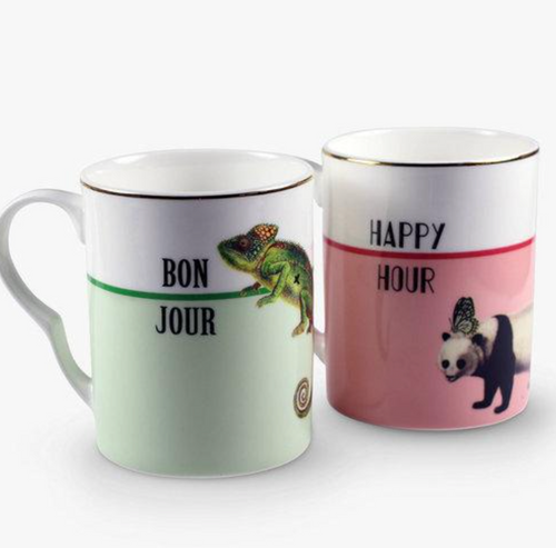 Yvonne Ellen Set Of 2 Mugs,Bonjour/ Happy Hour
