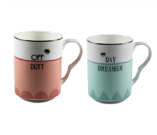 Yvonne Ellen Set Of 2 Mugs,  Off Duty/ Day Dreamer Mugs