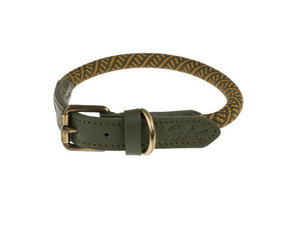 Sophie Allport Rope Dog Collar Forest Green