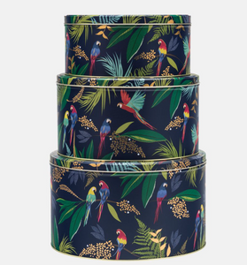 Sara Miller Round Cake Storage Tins Parrots ( Set of 3)