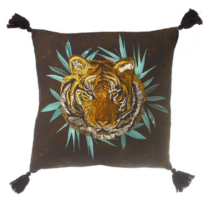 Parlane Living Tiger Cushion Black