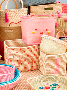 Rice Square Raffia Basket Pink polka Dots