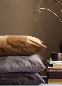 Cozy Living Corduroy Herringbone Cushion- MUD