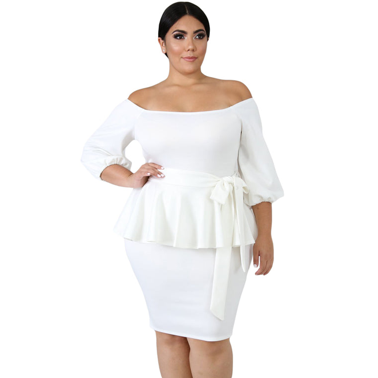 Black /white Sash Tie Plus Size Peplum