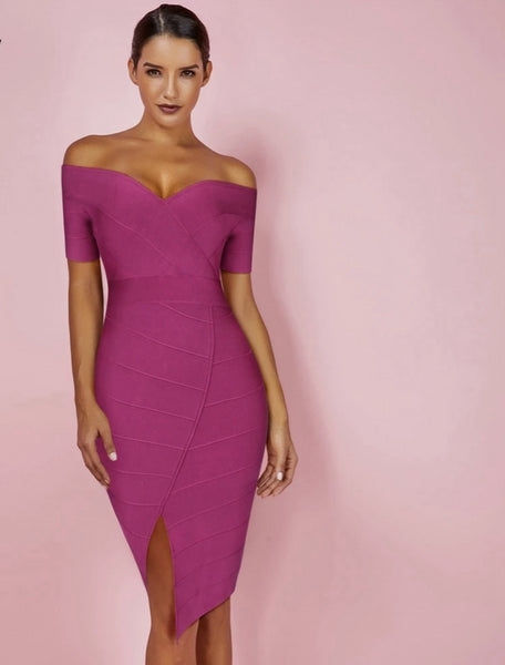 Bodycon Bandage Dress Sexy Dark Purple
