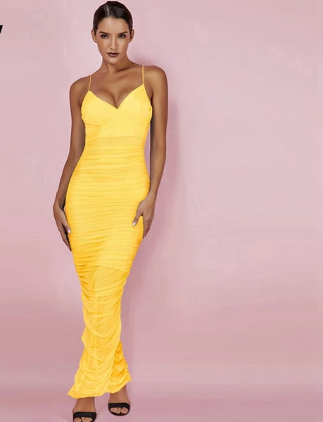 Women Bodycon Dress Sexy Yellow Strapy