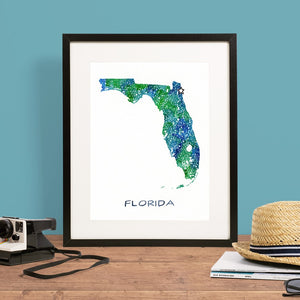 Watercolor Map of Florida