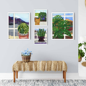 Room with a view, collage featuring landscapes, houseplants, and window views