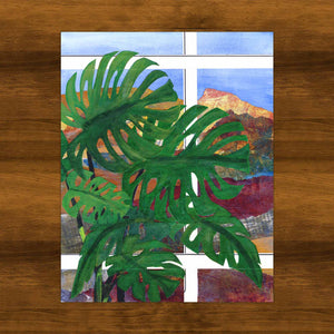 Monstera in the Mountains | Swiss Cheese Plant Collage