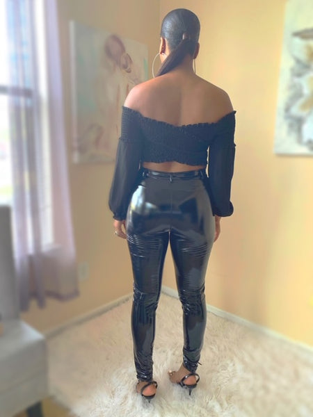 Black crop top - shopfashboutique
