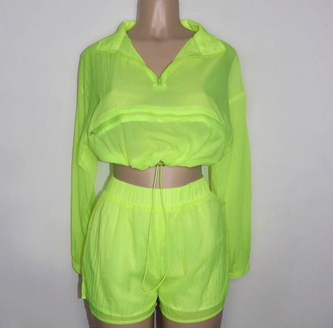 Highlighter windbreaker short set - shopfashboutique