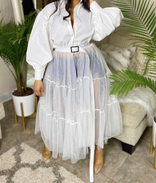 Sheer Delight | Tulle Dress | White