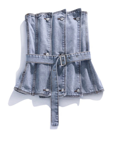 Layer Belted | Denim Top