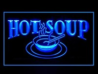 Hot Soup Neon Sign (Restaurant. Cafe. Open. Take Away. LED. Light)