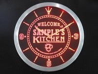 Welcome Kitchen Personalized Your Name Beer Home Sign Neon Led Clock