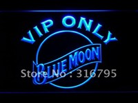 VIP Only Blue Moon LED Neon Sign