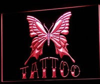 Wisedecor LED Red Tattoo Piercing Butterfly Display Light Sign